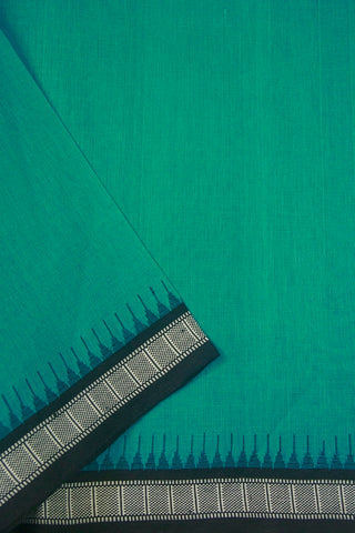 Blueish Green Temple Kuppadam Border Khadi Cotton Fabric