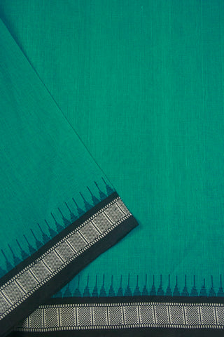 Blueish Green with Black Temple Kuppadam Border Khadi Cotton Fabric