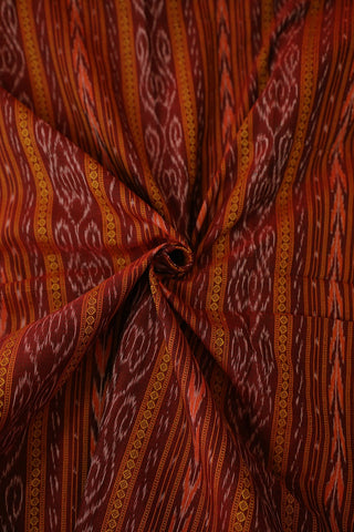 Double Shade Maroon Orissa Ikat Cotton Fabric