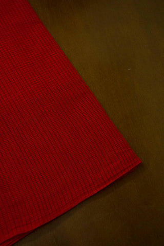 Maroon Checks Handwoven Cotton Fabric