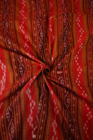 Maroon and Red Orissa Ikat Cotton Fabric