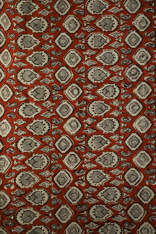 Rust Red Bagru Block Printed Cotton Fabric