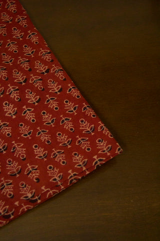 Maroon with Beige Ajrak Cotton Fabric - 0.7m