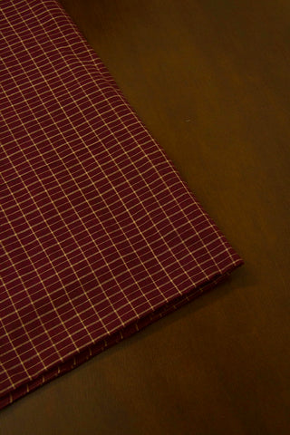Dark Brown Big Checks Handwoven Cotton Fabric-0.75 m