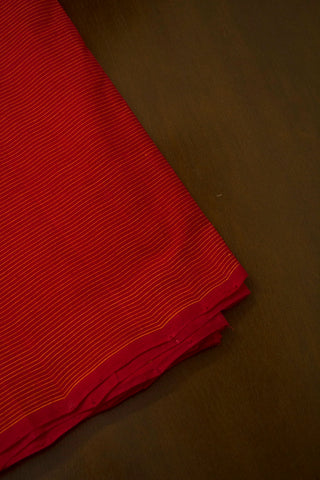 Reddish Pink with Yellow Pin Stripe Lines Handwoven Cotton Fabric