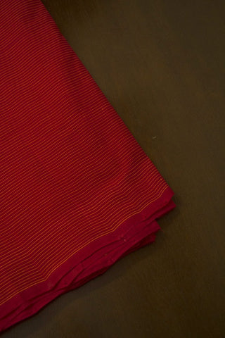 Red with Yellow Pin Stripe Lines Handwoven Cotton Fabric - 1.5m