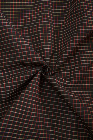 Black with Red Big Checks Handwoven Cotton Fabric