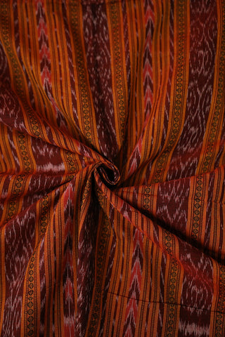 Double Shade Maroonish Yellow Orissa Ikat Cotton Fabric