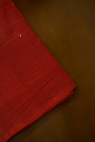 Rust Red with Black Pin Stripe Line Khadi Handwoven Cotton Fabric
