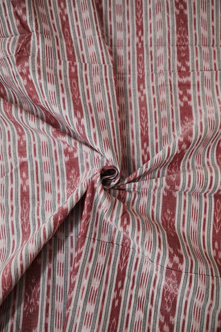 Off White with Double Shade Maroon Orissa Ikat Cotton Fabric