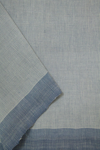 Off White with Light Blue Fine Checks Handwoven Cotton Fabric