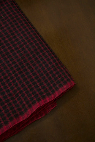 Black with Pink Big Checks Handwoven Cotton Fabric