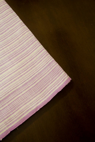 Off White with Lavender Handwoven Cotton Fabric