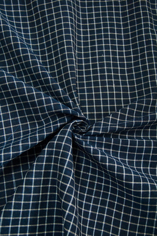 Blue with White Checks Handwoven Cotton Fabric