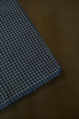 Blue with White Checks Handwoven Cotton Fabric - 0.6m