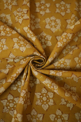 Subdued Yellow Bagru Block Printed Cotton Fabric