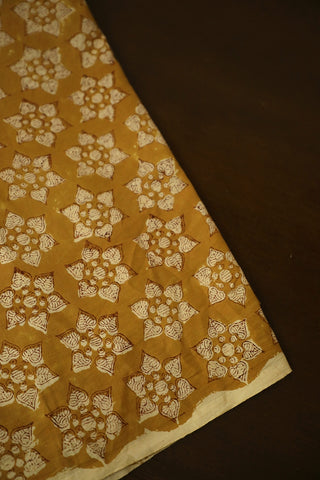 Subdued Yellow Bagru Block Printed Cotton Fabric-1.5 m
