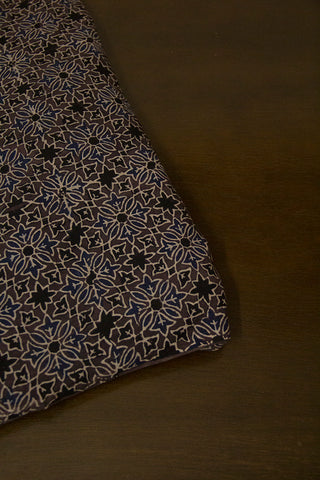 Grey with Indigo Floral Ajrak Cotton Fabric