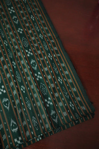 Dark Green with Yellow Lines Orissa Ikat Cotton Fabric