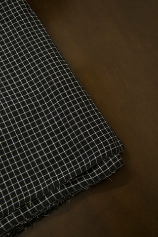 White with Black Checks Handwoven Cotton Fabric