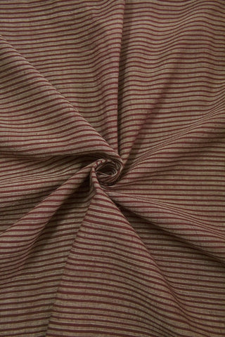 Brown Subtle Stripes Handwoven Cotton Fabric -1.5m