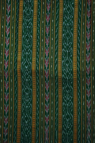 Yellow Lines in Green Orissa Ikat Cotton Fabric