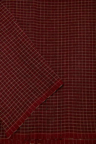Dark Maroon checkered Handwoven Cotton Fabric
