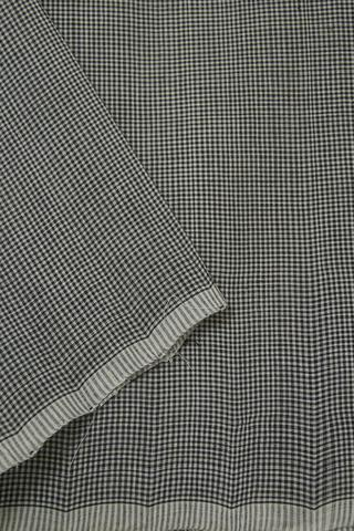 Black with Off White Handwoven Checks Cotton Fabric