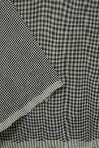 Black with White Fine Checks Handwoven Cotton Fabric