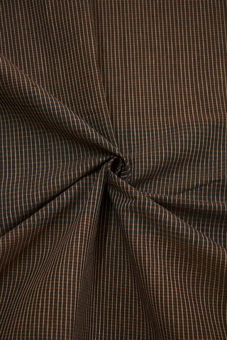 Greyish Blue Fine Checks Handwoven Cotton Fabric-1.7 m