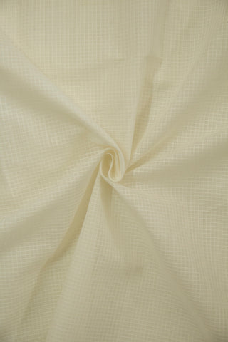 White Fine Checks Handwoven Cotton Fabric - 1m