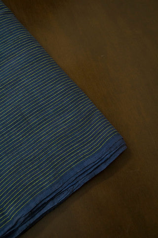 Indigo Blue with Pin Stripe Lines Handwoven Cotton Fabric