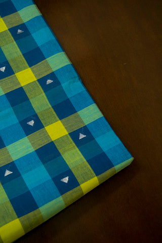 Shades of Blue and Green Checks Handwoven Cotton Fabric