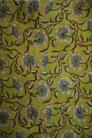 Green with Blue Bagru Block Printed Cotton Fabric-1.6 m
