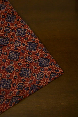 Maroon with Black Circles Ajrak Cotton Fabric