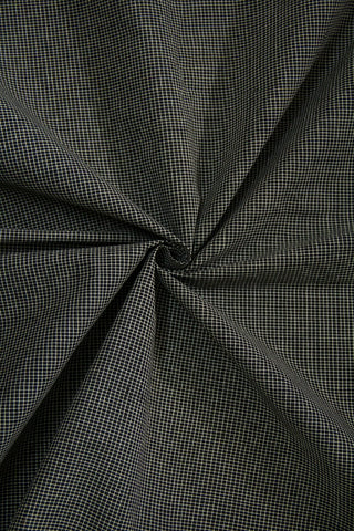 Black Fine Checks Handwoven Cotton Fabric