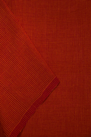 Reddish Pink Fine Checks Handwoven Cotton Fabric