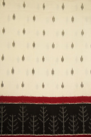Off White with Black and Maroon Border Ikat Cotton Fabric -0.5m