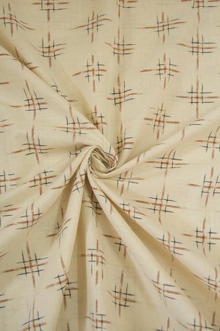 Offwhite with brown Double Ikat Cotton Fabric