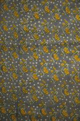 Grey with Yellow Floral Bagru Block Printed Cotton Fabric