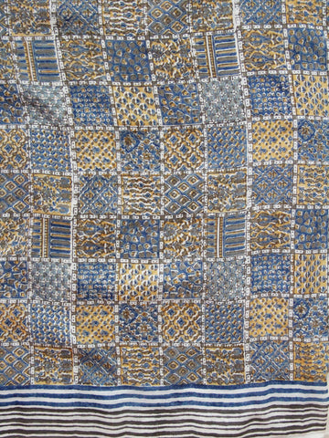 Printed Squares Handwoven fine light silk fabric