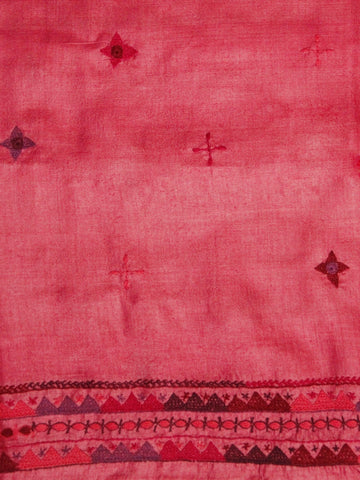 Subtle Pink Hand Embroidered Tussar Silk Fabric
