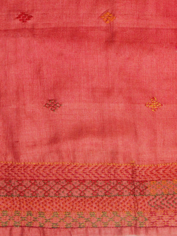 Peach Red with yellow green Border Tussar Silk Blouse Fabric