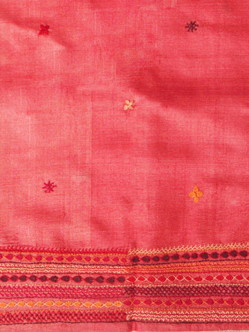 Peach Red Hand Embroidered Tussar Silk Blouse Fabric