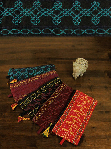 Set Of Five Kolam Design Embroidered Pouch