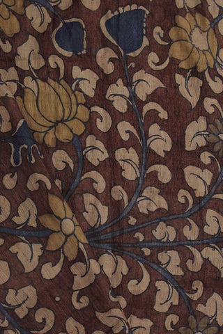 Red Lotus Floral Hand Painted Tussar silk Kalamkari Blouse Fabric