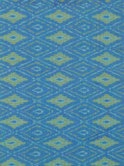 Blue Diamonds - Silk Cotton Ikat Fabric 0.85m