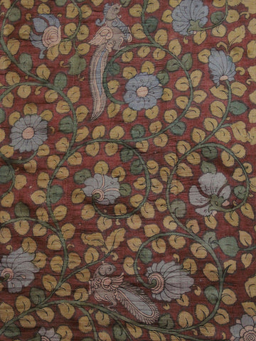 Subdued Maroon with yellow Hand Painted Tussar silk Kalamkari Blouse Fabric