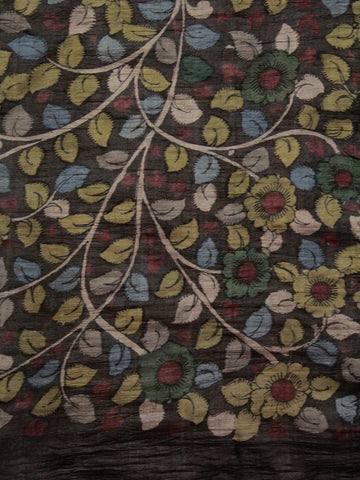 Smoky Grey Leaves Floral Hand Painted Tussar silk Kalamkari Blouse Fabric