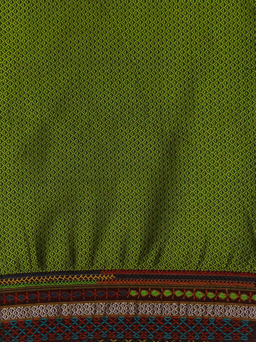 Green Khun Fabric with Hand embroidered border